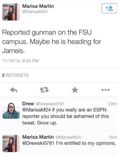 Foot-in-Mouth of Day: ESPN Student Reporter Tweets 'Joke' During FSU Shooting