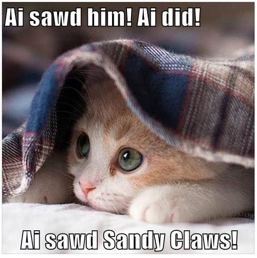 Ai sawd him! Ai did!  Ai sawd Sandy Claws!