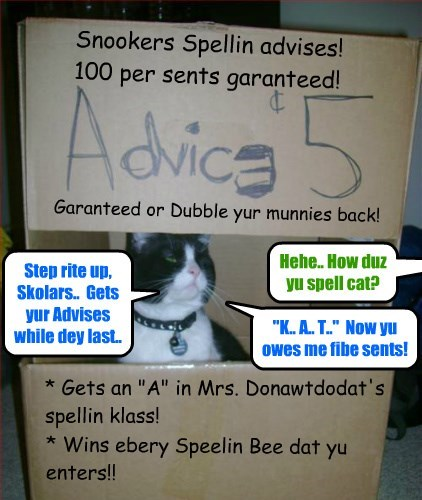 Clive Banks Munnies Class Assignment - Snookers offers a bery popular Advises Booth in teh Skool Lounge.. => Grade reseeved: 5 Mousies out ob 5, if yu can handl teh refunds yu will do grate! Yu sertenly spells better den me!