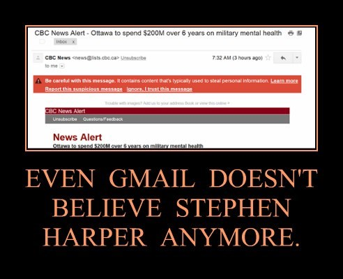 EVEN  GMAIL  DOESN'T  BELIEVE  STEPHEN HARPER  ANYMORE.