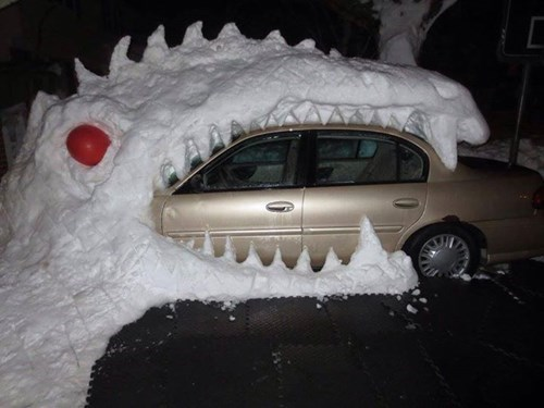 snow monster eats car