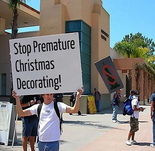 Christmas decoration protest
