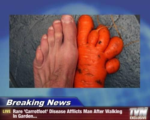 Breaking News - Rare 'Carrotfoot' Disease Afflicts Man After Walking In Garden...