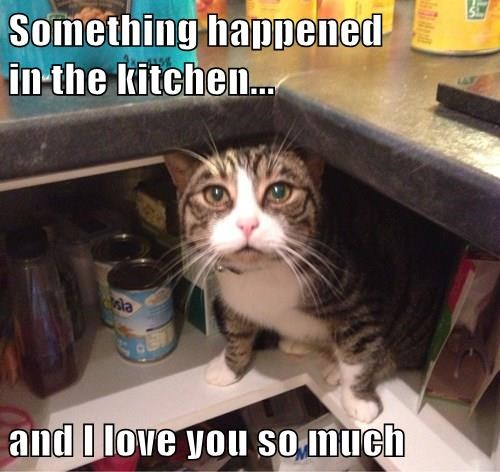 Something happened                          in the kitchen...  and I love you so much