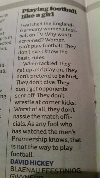 """A Very Clever Letter to the Editor About """"Why Women Can't Play Soccer"""""""