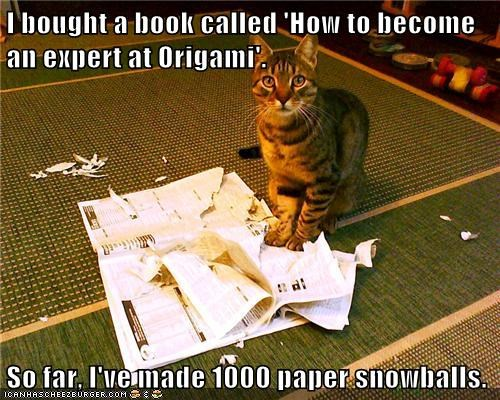 I bought a book called 'How to become an expert at Origami'.  So far, I've made 1000 paper snowballs.