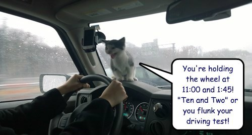 """You're holding the wheel at 11:00 and 1:45!  """"Ten and Two"""" or you flunk your driving test!"""