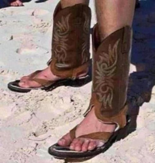 flip flops,poorly dressed,boots,cowboy boots,sandals