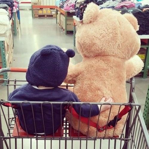 teddy bear,baby,shopping cart,parenting