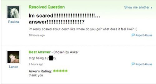 trolling,scared,Yahoo Answer Fails