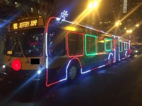 monday thru friday,christmas,commute,christmas lights,bus,holidays