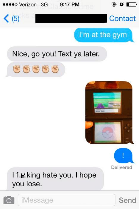Pokémon,gym,texting