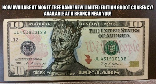 NOW AVAILABE AT MONET TREE BANK! NEW LIMITED EDITION GROOT CURRENCY! AVAILABLE AT A BRANCH NEAR YOU!