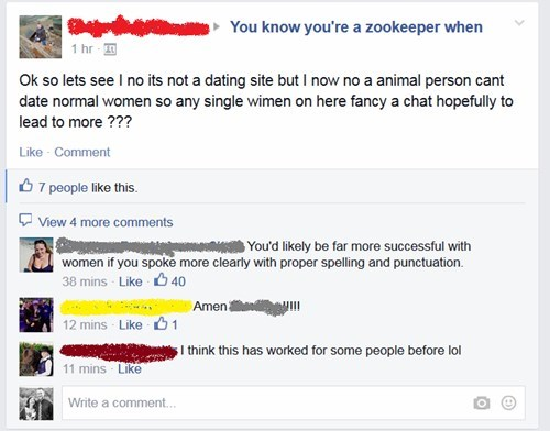 forever alone,facebook,zookeepers,dating