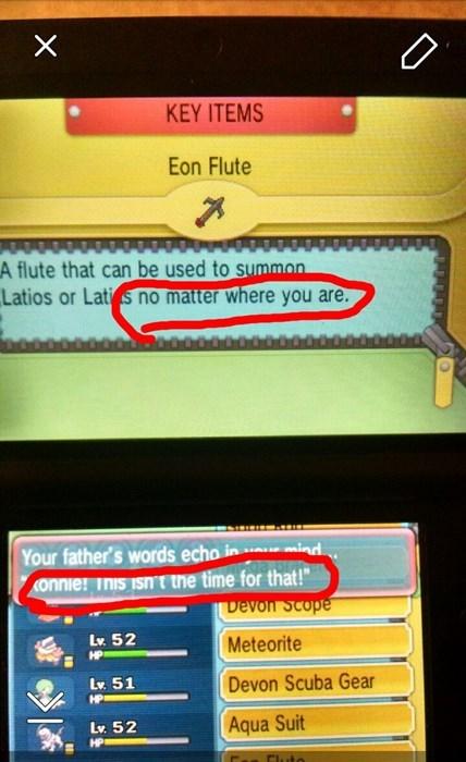 eon flute,Pokémon,ORAS,this isn't the time for that
