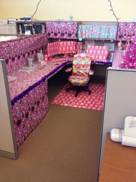 monday thru friday,wrapping paper,cubicle prank,disney princesses,hello kitty,prank,frozen,cubicle