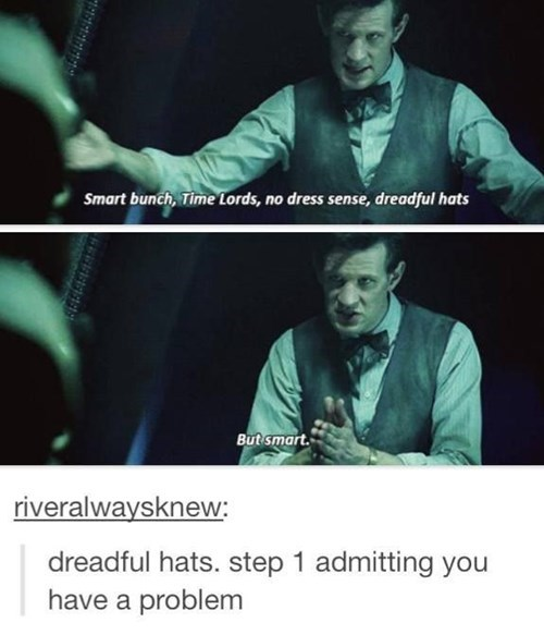 twelve steps,hats,11th Doctor,addiction,Time Lords