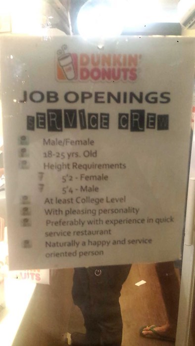dunkin donuts,monday thru friday,job hunt,qualifications,g rated