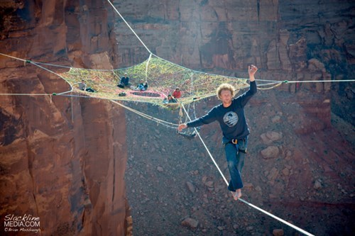 Don't Look Down, That's Just a Group of Slackline Pros Making Camp in the Sky