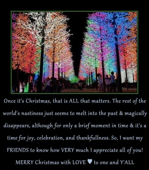 Once it's Christmas, that is ALL that matters. The rest of the world's nastiness just seems to melt into the past & magically disappears, although for only a brief moment in time & it's a time for joy, celebration, and thankfullness. So, I want my FRIENDS