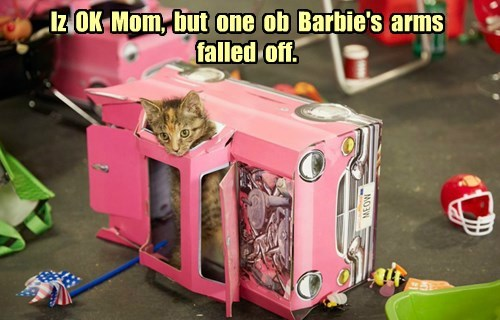 Iz  OK  Mom,  but  one  ob  Barbie's  arms  falled  off.