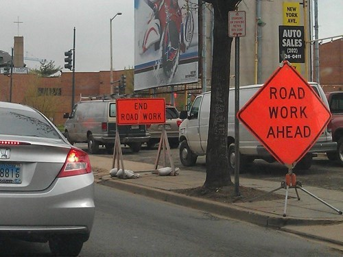 monday thru friday,sign,road work