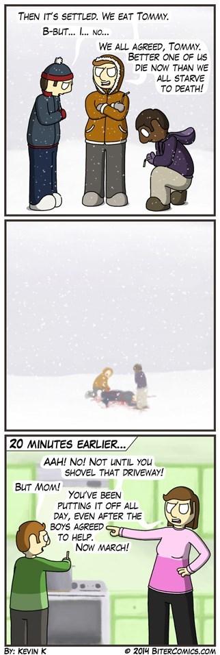 snowing,driveways,winter,web comics