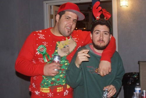 christmas,poorly dressed,hole,christmas sweaters,chest hair,googly eyes