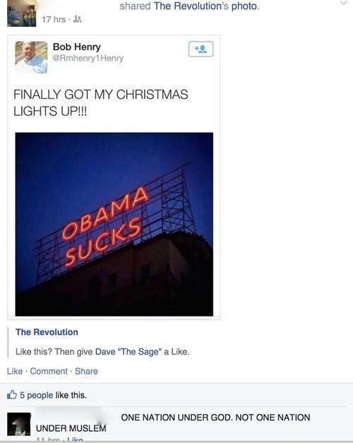 christmas,murica,obama,facebook,christmas lights,barack obama