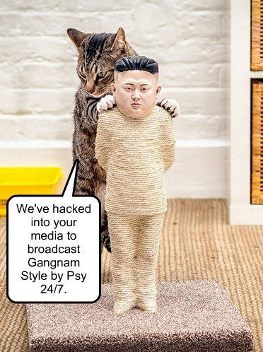 We've hacked into your media to broadcast Gangnam Style by Psy 24/7.