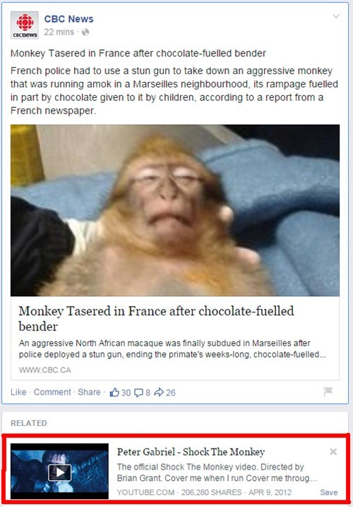 Music,news,suggestion,peter gabriel,Probably bad News,monkey,juxtaposition,fail nation,failbook
