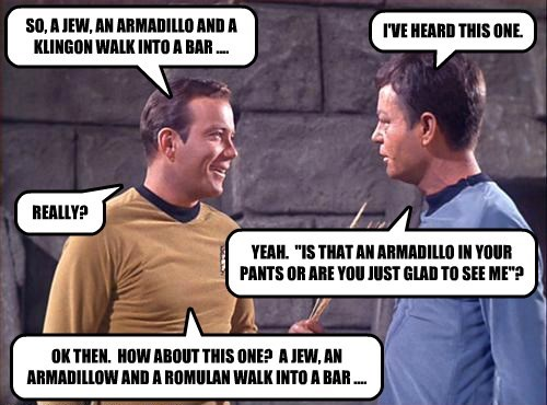 SO, A JEW, AN ARMADILLO AND A KLINGON WALK INTO A BAR ....