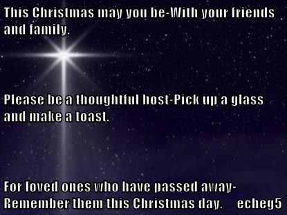 This Christmas may you be-With your friends and family. Please be a thoughtful host-Pick up a glass and make a toast. For loved ones who have passed away-Remember them this Christmas day.     echeg5