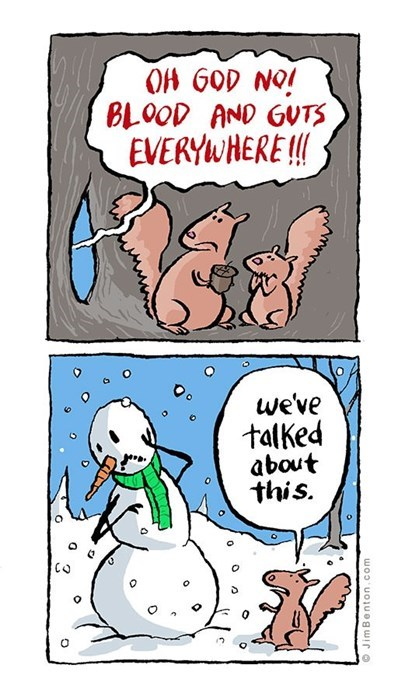 snow,squirrels,winter,web comics,snowman