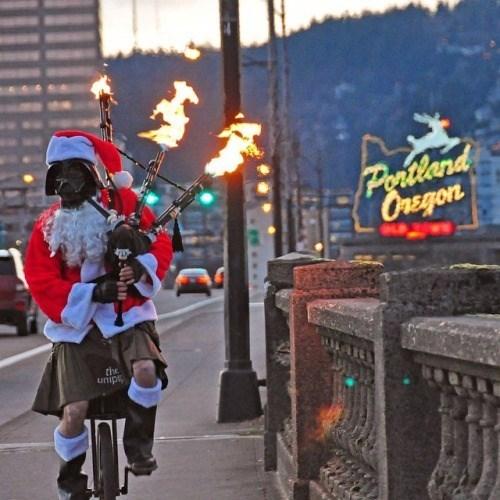 christmas,portland,bagpipes,unicycle,darth vader