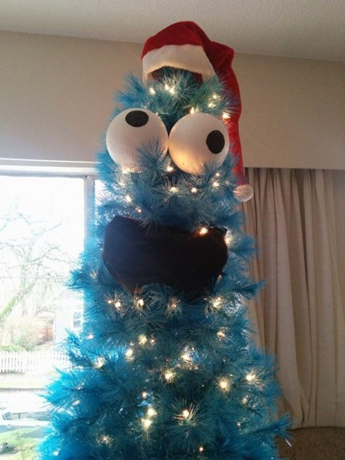 What Do You Do With a Blue Christmas Tree? Cookie Monster it!