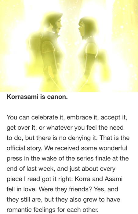 Korra Creators Confirm Korrasami is Canon