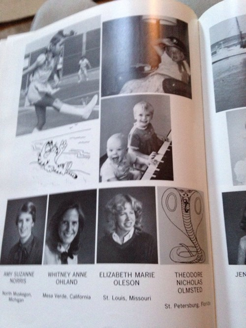 Snake in a yearbook picture