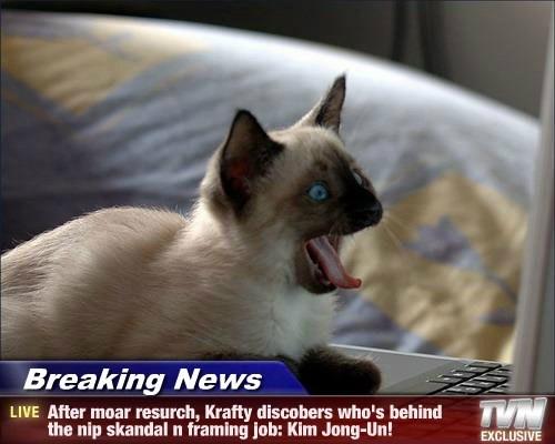 Breaking News - After moar resurch, Krafty discobers who's behind the nip skandal n framing job: Kim Jong-Un!