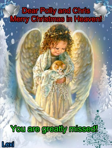 Dear Polly and Chris Merry Christmas in Heaven!