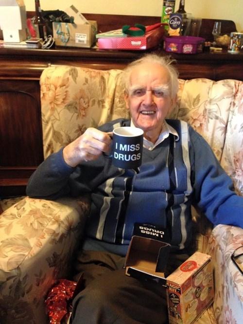 drugs,old people,funny,mug
