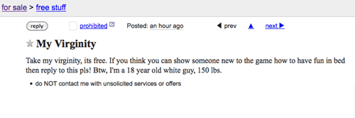 don't give away your virginity on craig's list.