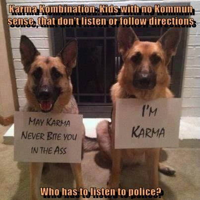 Karma Kombination: Kids with no Kommun sense, that don't listen or follow directions  Who has to listen to police?