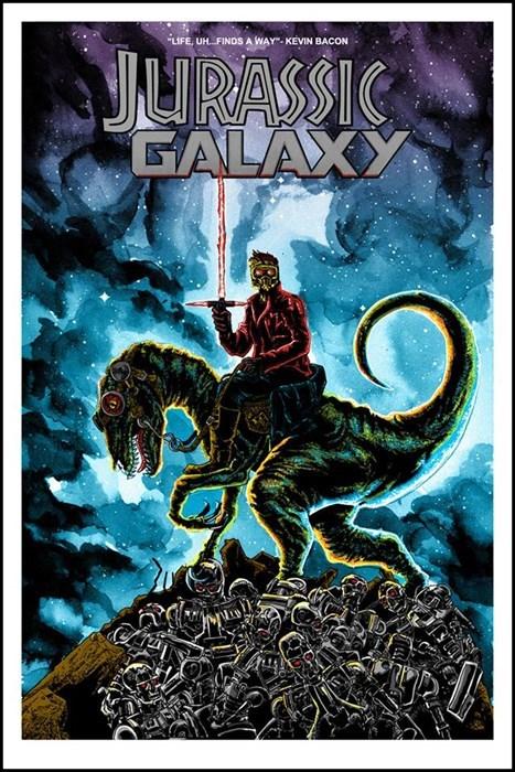 jurassic world,mashup,lightsaber,guardians of the galaxy,jurassic park