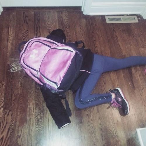 kids,floor,tired,parenting,backpack