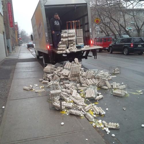 monday thru friday,eggs,truck,broken,delivery