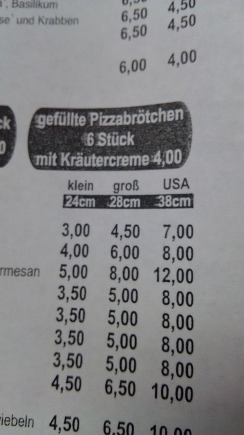 These Are Pizza Sizes in Germany. Klein, Gross, USA. Small, Large, USA.