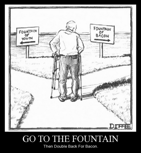 fountain of youth,funny,bacon