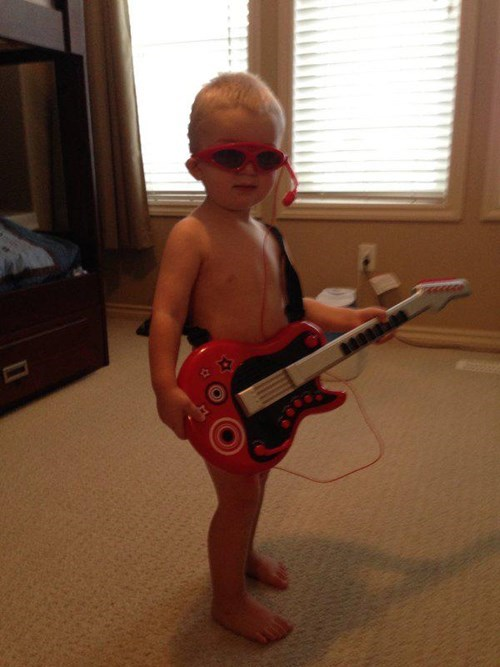 guitar,rock star,baby,sunglasses,parenting