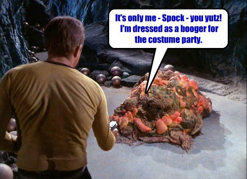 It's only me - Spock - you yutz!   I'm dressed as a booger for  the costume party.